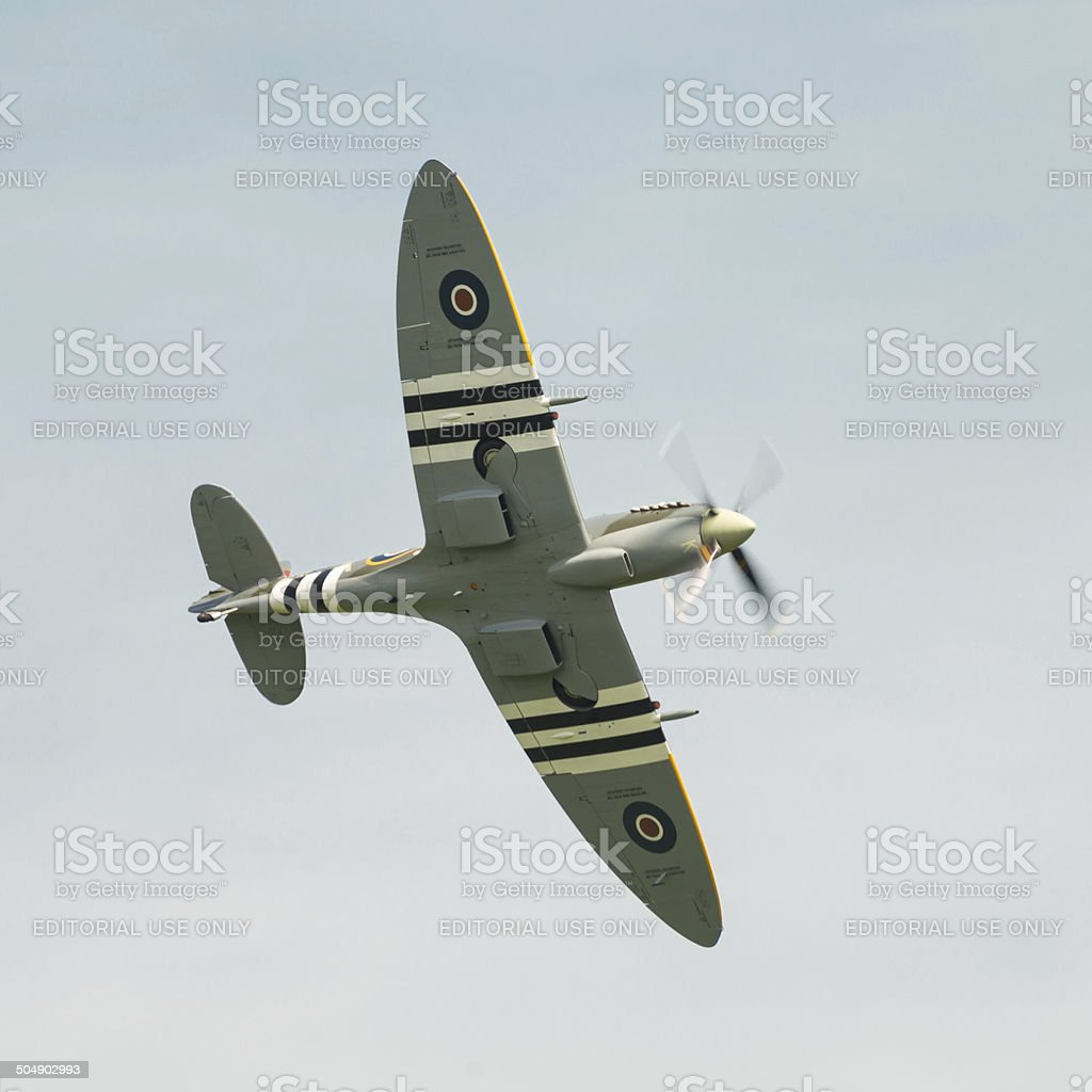 Spitfire in flight stock photo