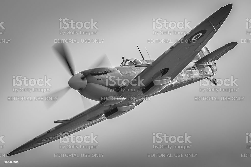 Spitfire MH434 - nostalgic black and white stock photo