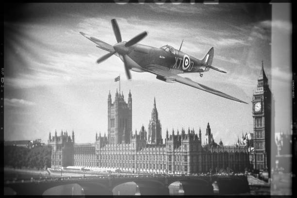 Spitfire over London stock photo