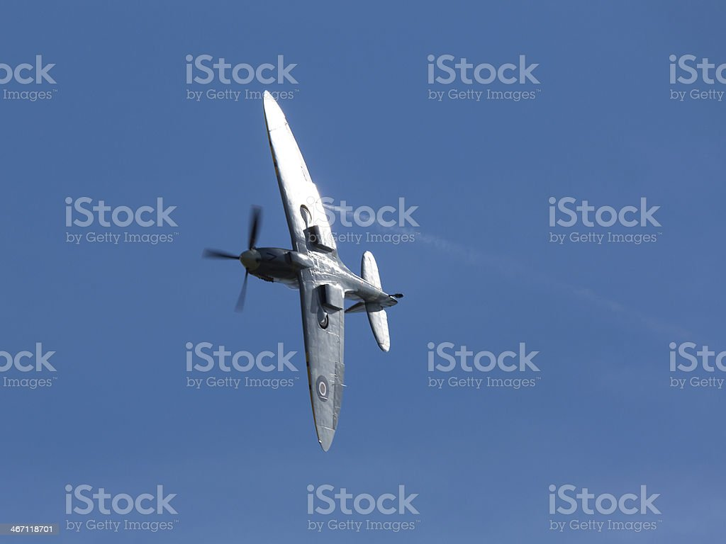 Spitfire, WW2 fighter aircraft over England, 2013 stock photo