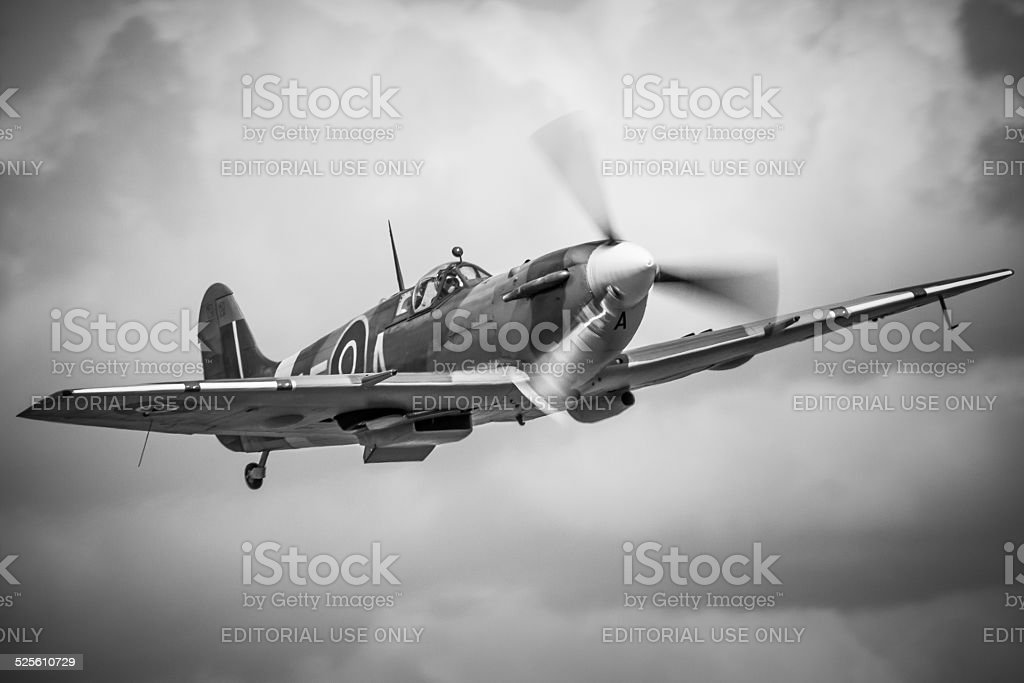 Spitfire Wwii Fighter Aircraft In Black White Stock Photo