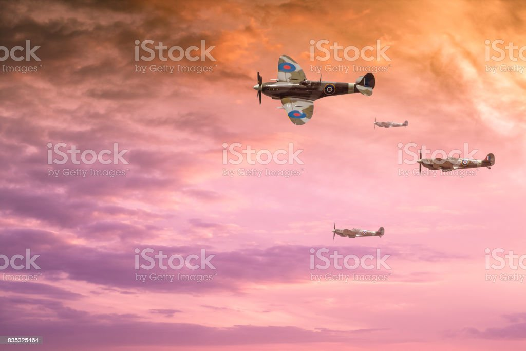 Spitfires at sunset stock photo