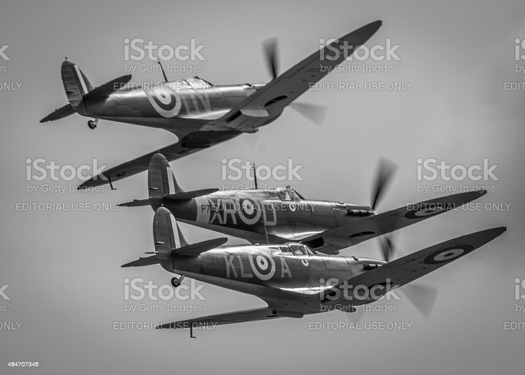 Spitfires - Battle of Britain - retro edit - attacking stock photo