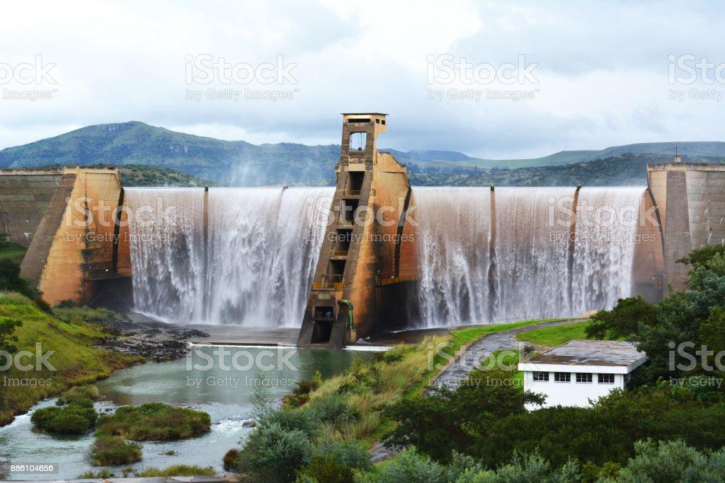 Spitting 54 years Reservoir Dam stock photo