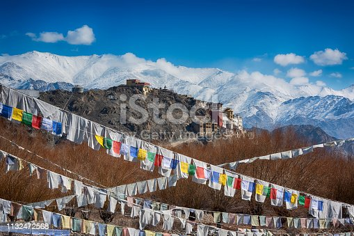 Spituk Monastery (also Spituk Gompa or Pethup Gompa) on a winter day. The Monastery was founded back in the 15 century. The buddhist monastery belongs to the Gelug sect (Yellow Hat sect) of Tibetan Buddhism.