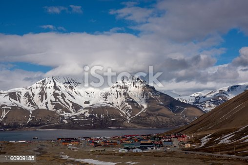 spitzbergen panoramic view with mountain range Svalbard