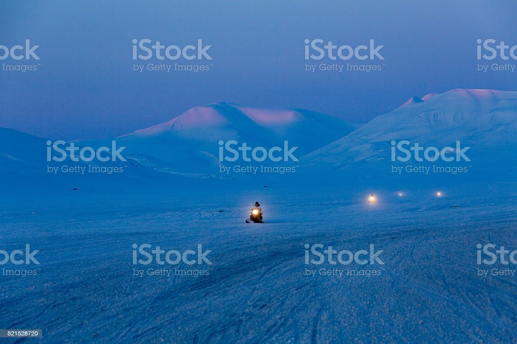 Spitzbergen scooter excursion stock photo