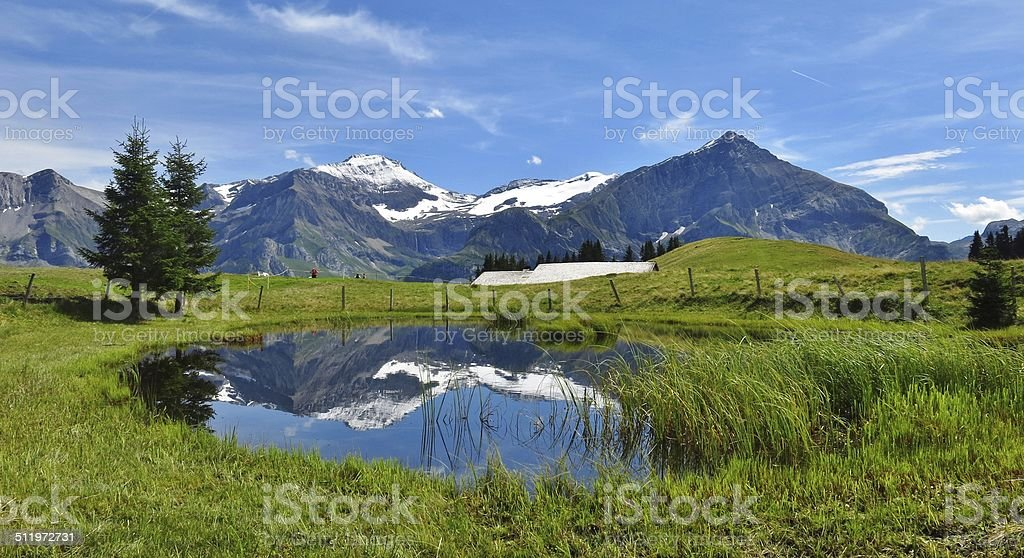 Spitzhorn and pond stock photo