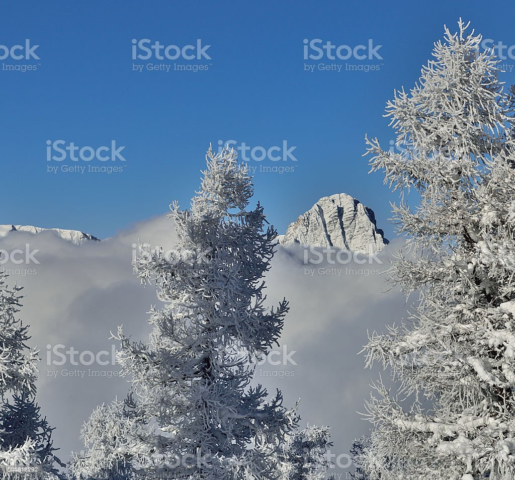 Spitzmauer looking out of the clouds stock photo