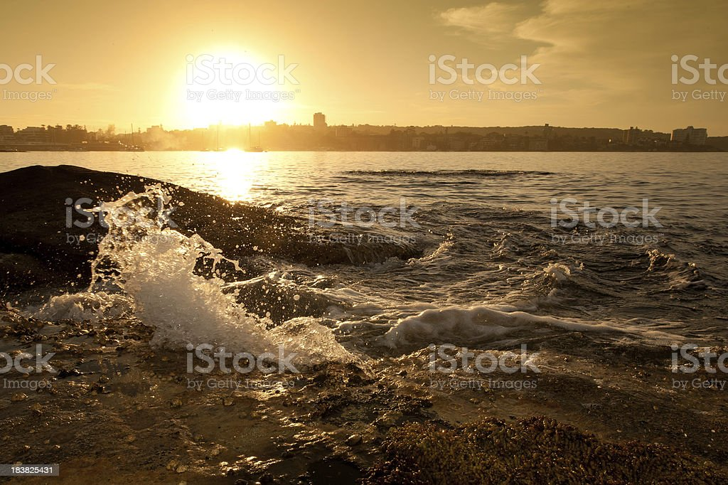Splash at sunrise stock photo