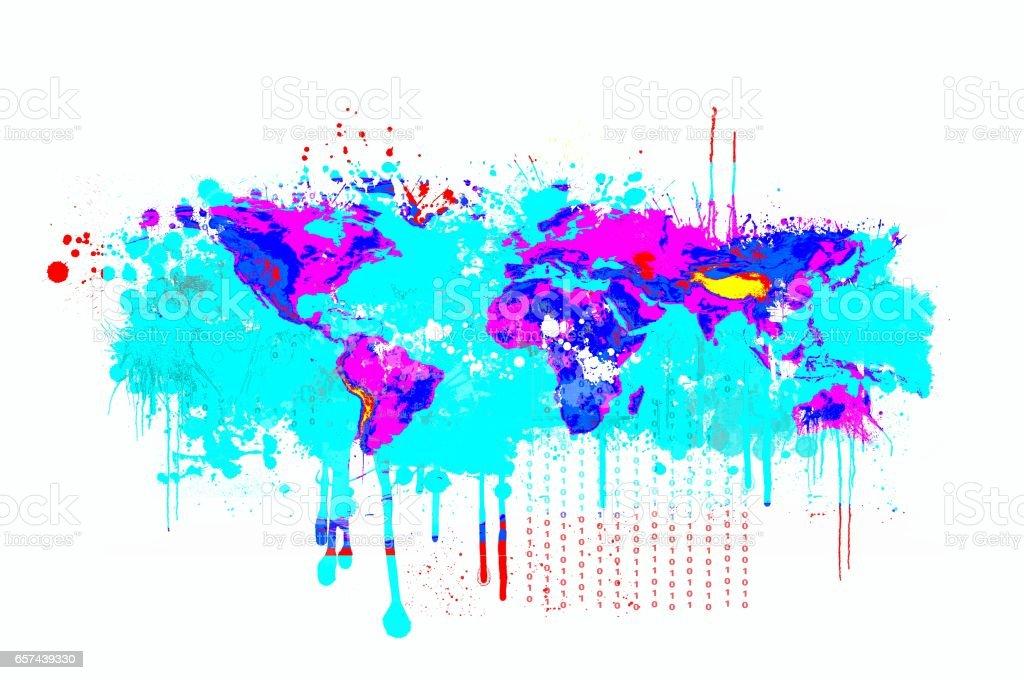 Splash dripping world map in blue and magenta colors basic image of splash dripping world map in blue and magenta colors basic image of earth courtesy nasa gumiabroncs Choice Image