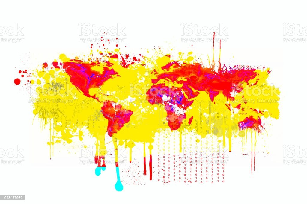 Splash dripping world map in red and yellow. stock photo