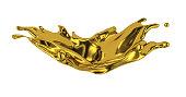 splash gold, drop, 3d rendering isolated