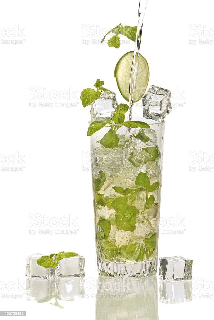 Splash in mojito cocktail with ice on white background royalty-free stock photo