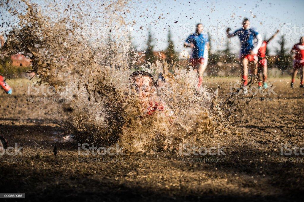 Splash in mud stock photo
