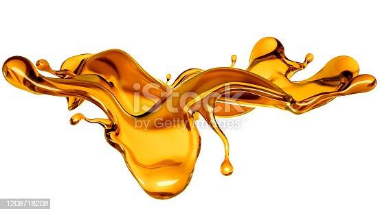 858282944 istock photo Splash of a transparent orange liquid on a white background. 3d illustration, 3d rendering. 1208718208