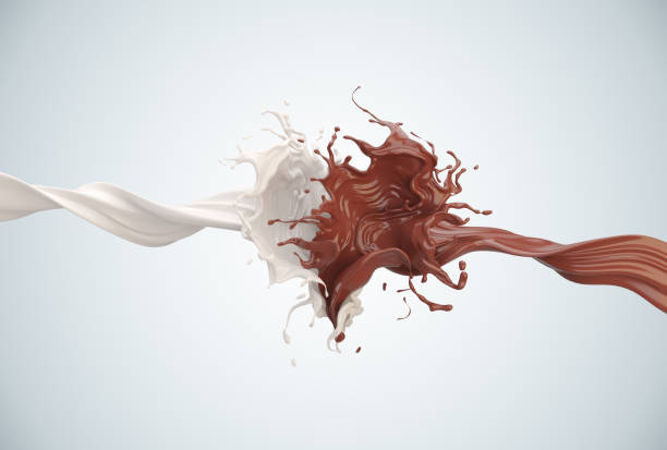 splash of chocolate and milk - chocolate swirl stock photos and pictures