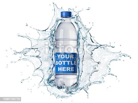 Splash of clear water with pet water bottle in the middle. isolated on white background. The bottle can be clipped and replaced with your bottle. Clipping path included.