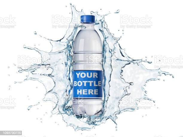 Photo of Splash of clear water with pet water bottle in the middle. isolated on white background. The bottle can be clipped.