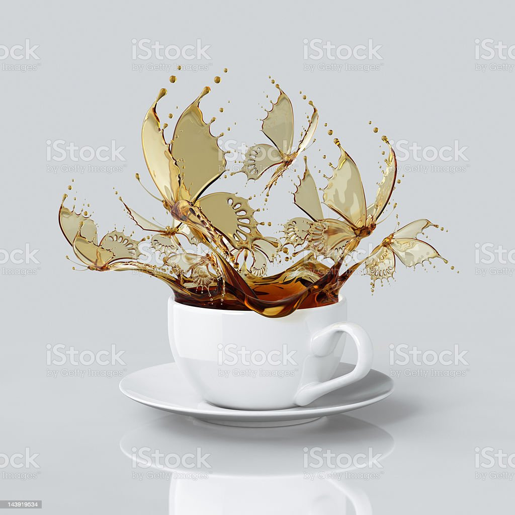 Splash Of Coffee Butterflies In The Cup stock photo