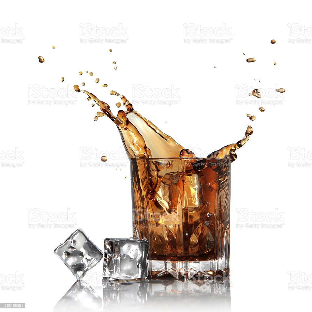 splash of cola in glass with ice cubes on white royalty-free stock photo