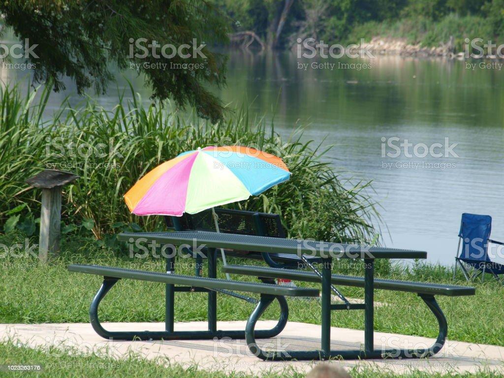 A Splash Of Color Lakeside stock photo