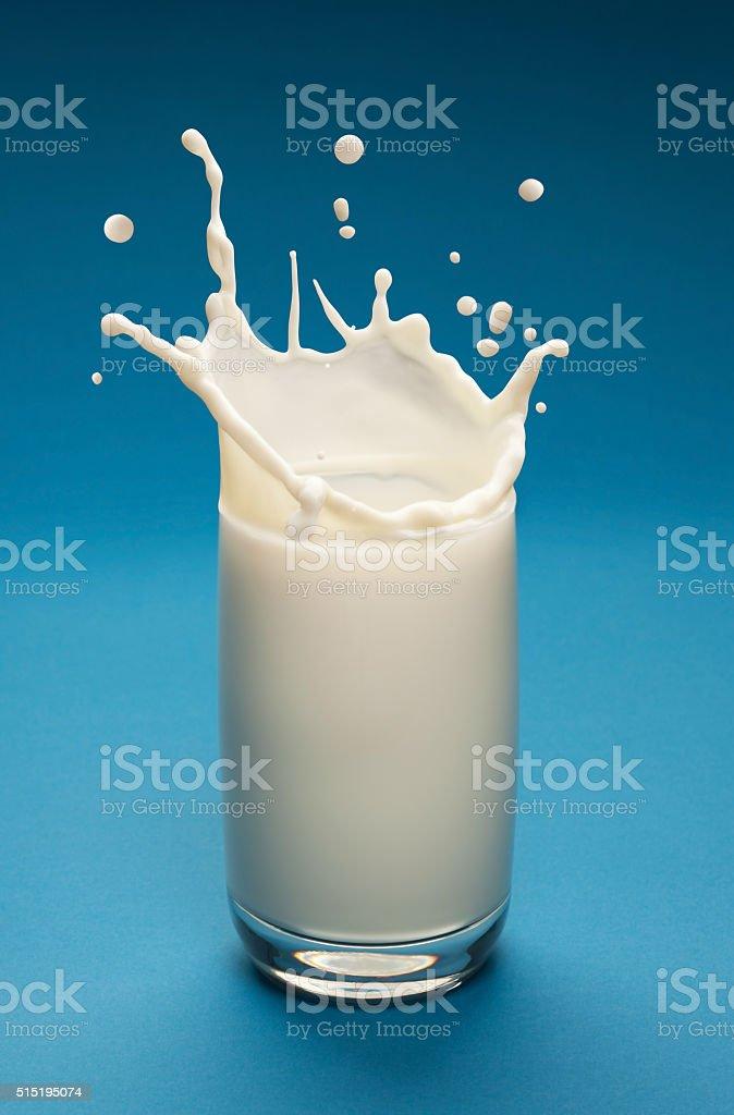 Splash of milk in the glass. Closeup. stock photo