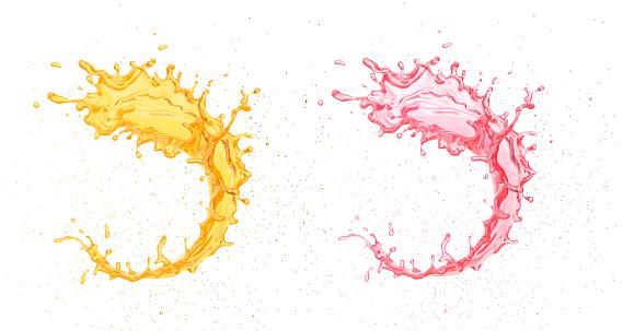 Splash of orange and strawberry fruit juice, 3d illustration.