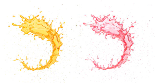 splash van sinaasappel en aardbei vruchtensap. - sapjes stockfoto's en -beelden