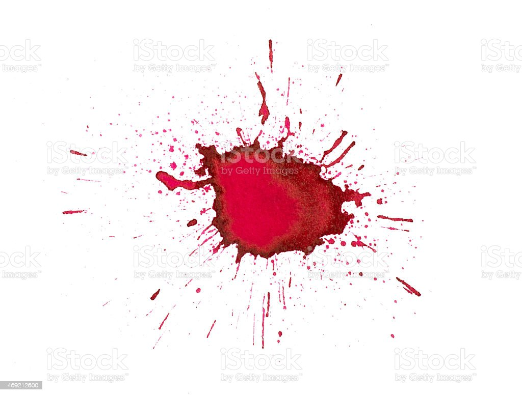 Splash of red ink on a white background stock photo
