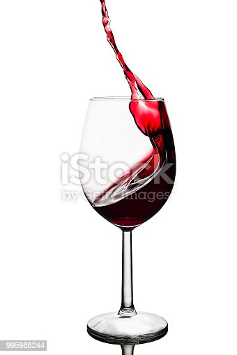 istock splash of red wine in a wineglass isolated on a white background 995988244