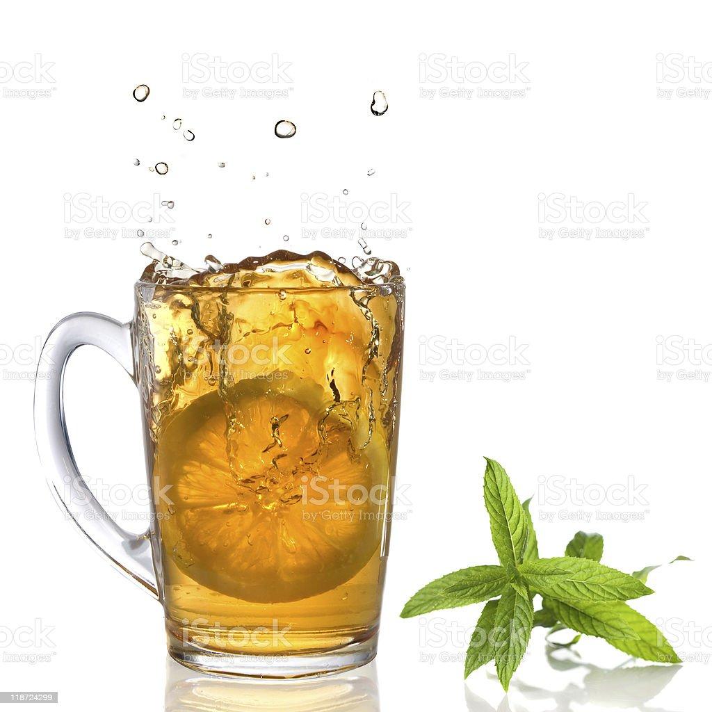splash of tea witn mint royalty-free stock photo