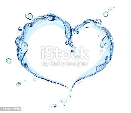 istock Splash of water abstract background, water heart 3d rendering 1174595280