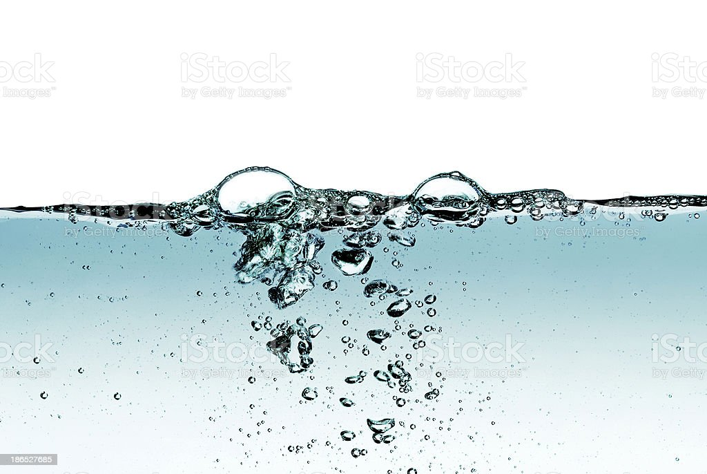 Splash of water,drops and bubbles on a white background. royalty-free stock photo