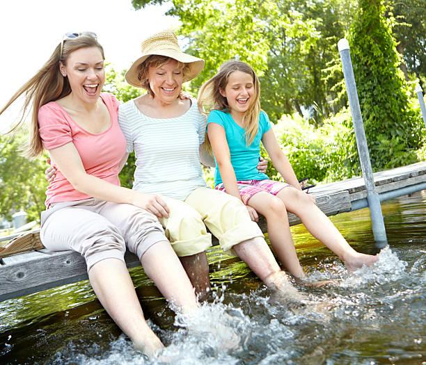 splash! - granny legs stock-fotos und bilder