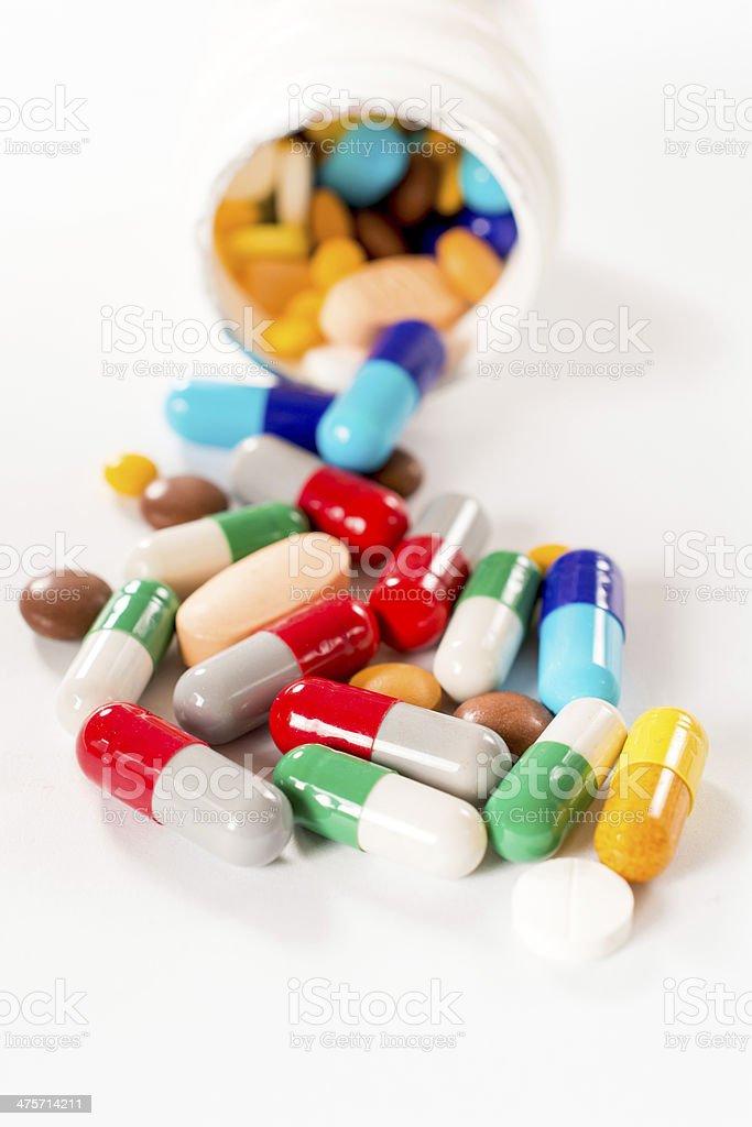 Splashed pills royalty-free stock photo