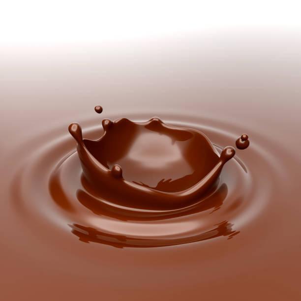 Spritzer und Tropfen Schokolade. 3D-Rendering. – Foto