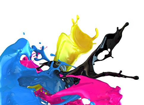 istock Splashes of blue, black, pink, and yellow paint 466887768