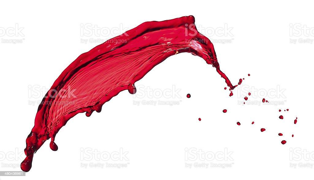 splashes of red transparent liquid stock photo