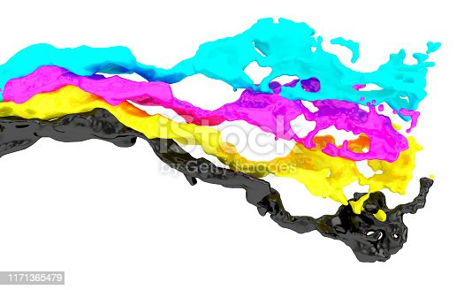 Four splashes in CMYK printing colors, 3d render