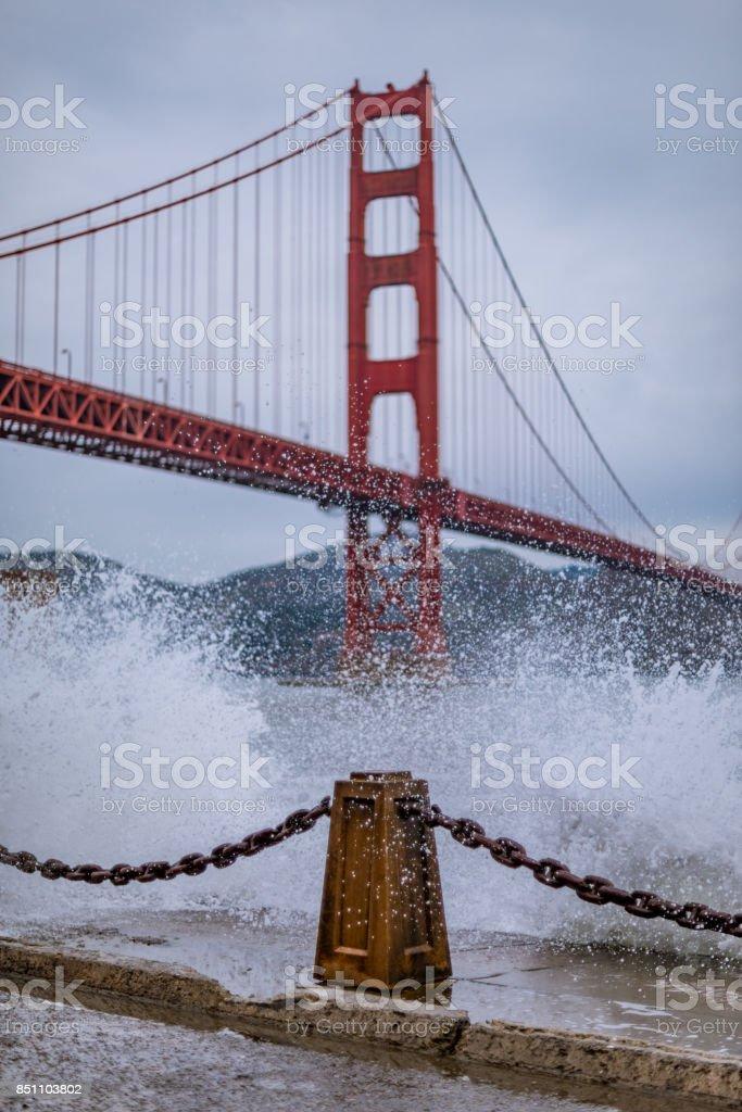 Splashing at the Golden Gate stock photo