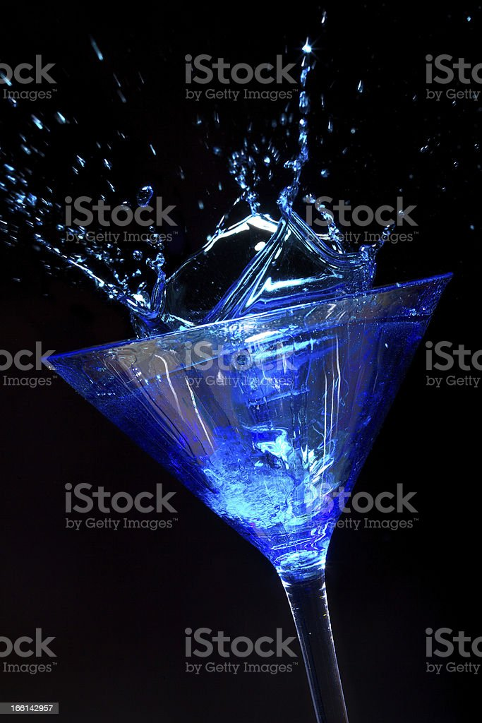 Splashing Blue Martini royalty-free stock photo