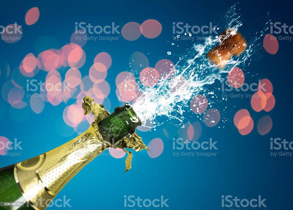 splashing champagne stock photo
