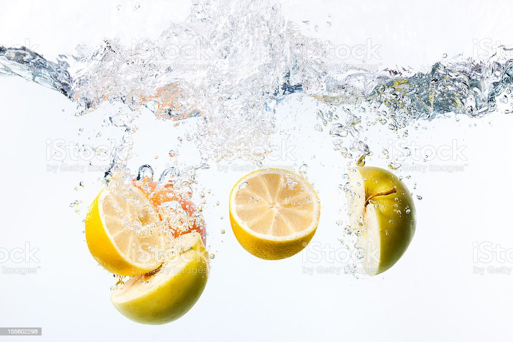 Splashing citrus stock photo