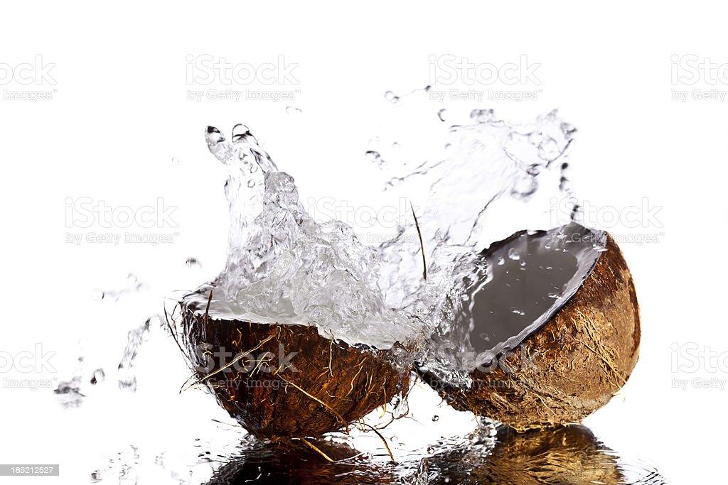 Splashing coconut royalty-free stock photo