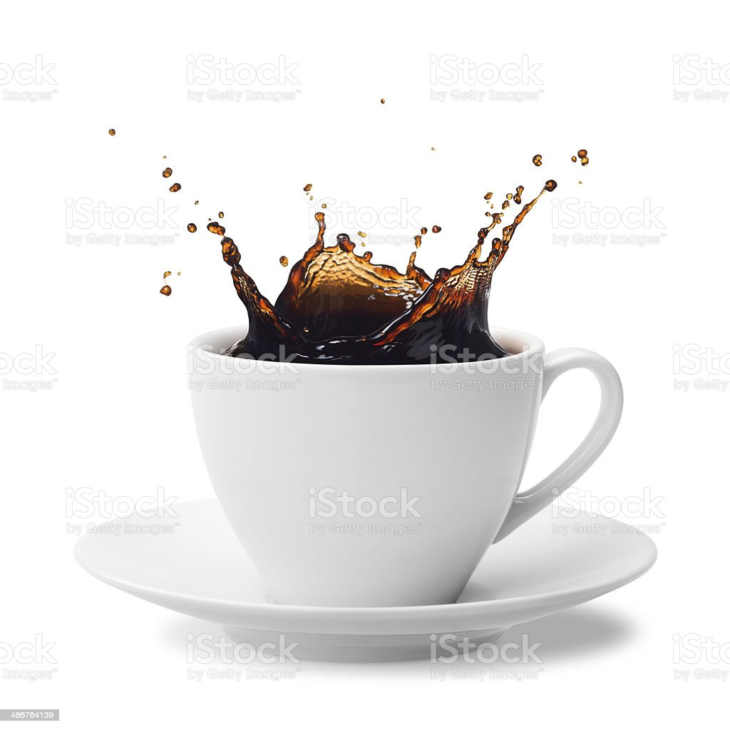 splashing coffee stock photo