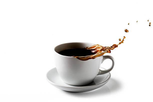Spritzendes Wasser Tasse Kaffee – Foto