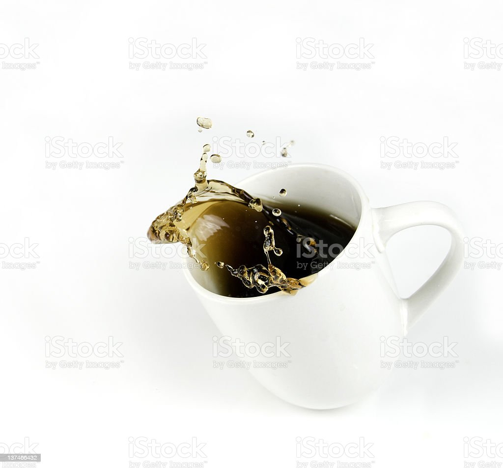 Splashing Cup of Coffee with Copy Space stock photo