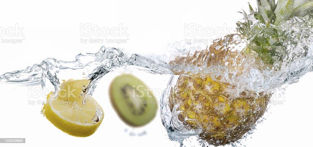Splashing Exotic Fruits royalty-free stock photo