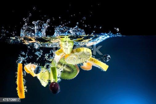 istock Splashing fruit on water. 475709817